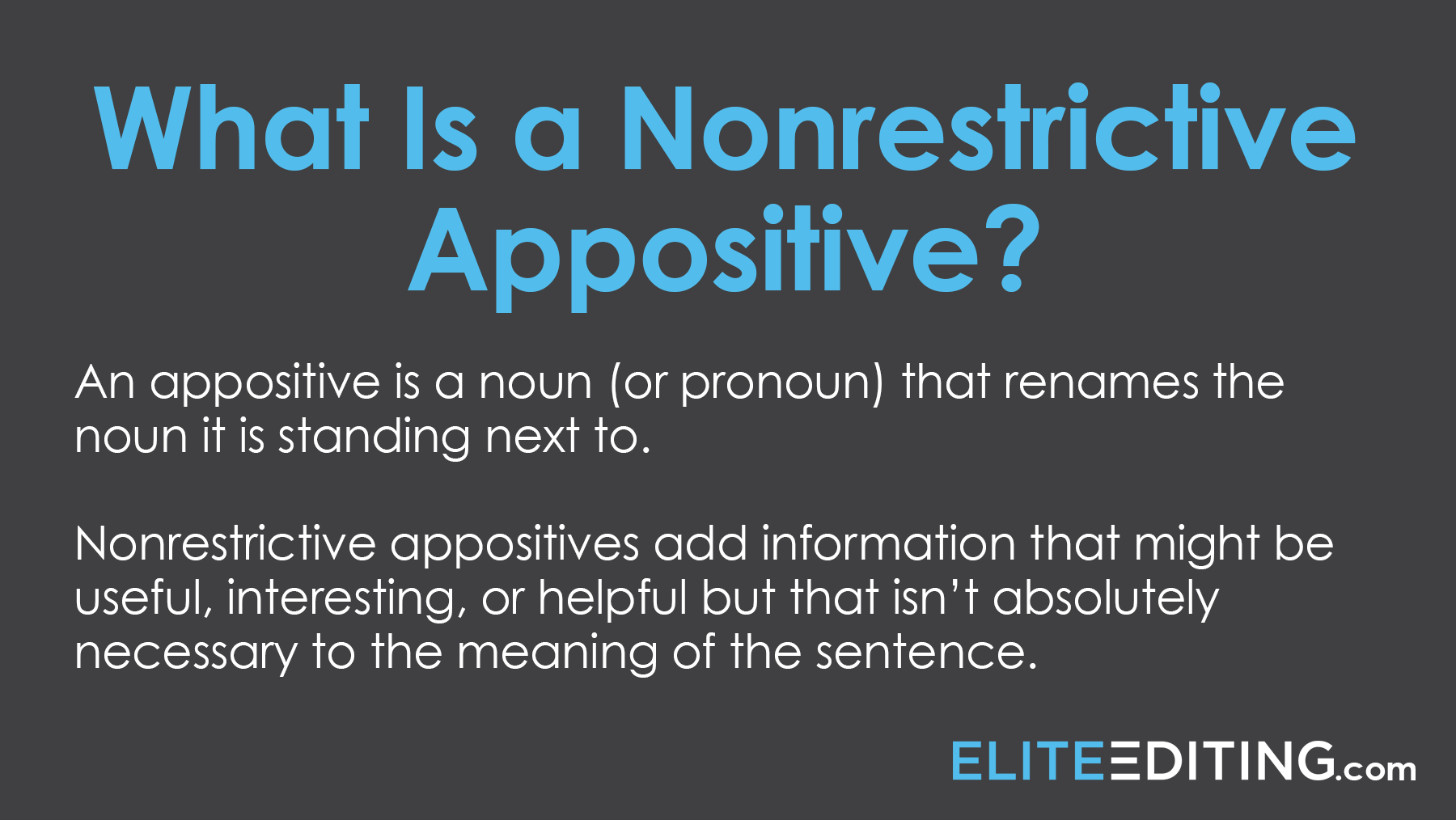 what is a nonrestrictive appositive